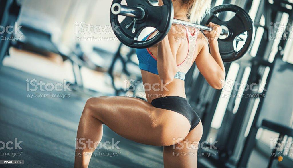 Squat workout. stock photo