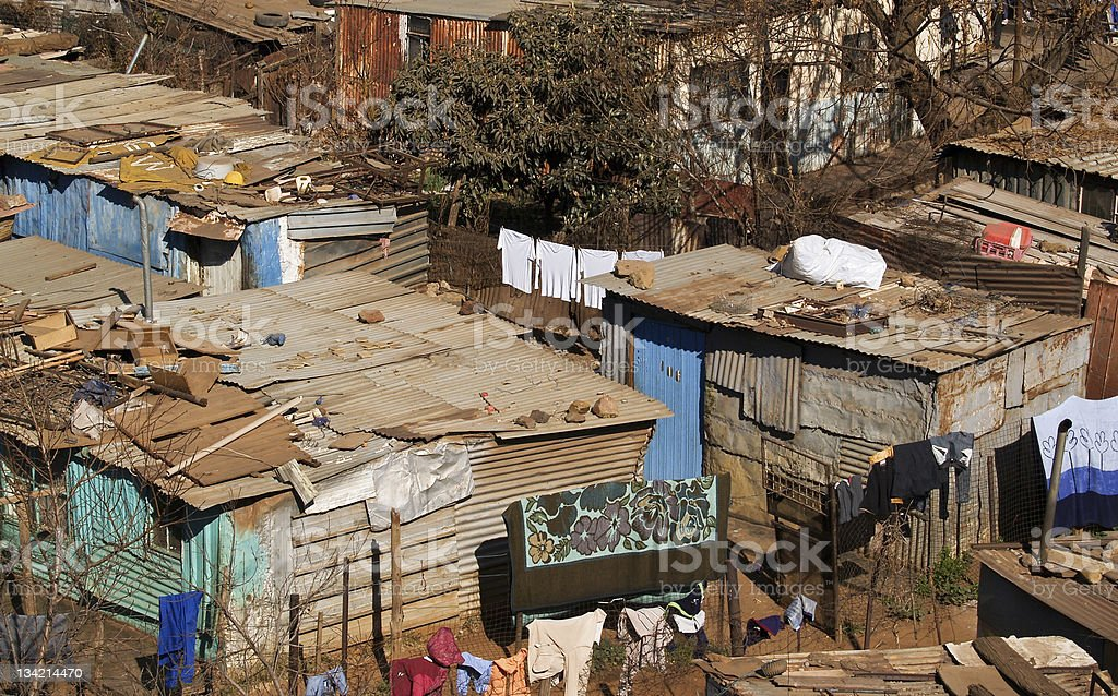 Squatter housing in Soweto, South Africa. stock photo