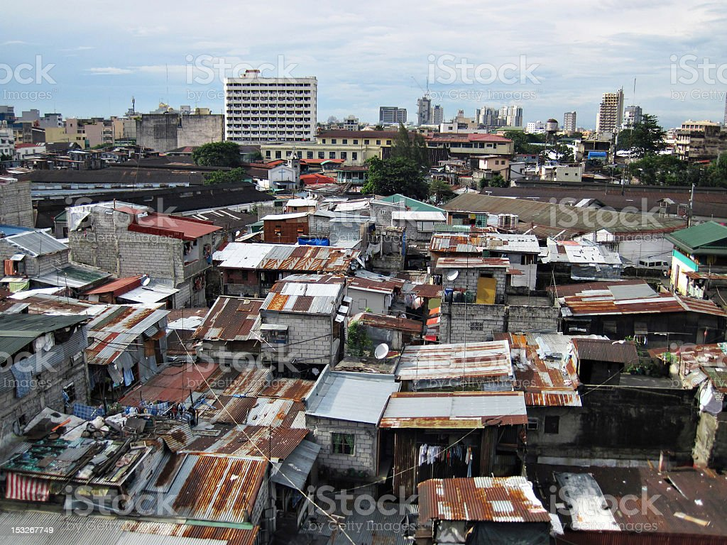 Squatter Shacks and Houses in a Slum Urban Area stock photo