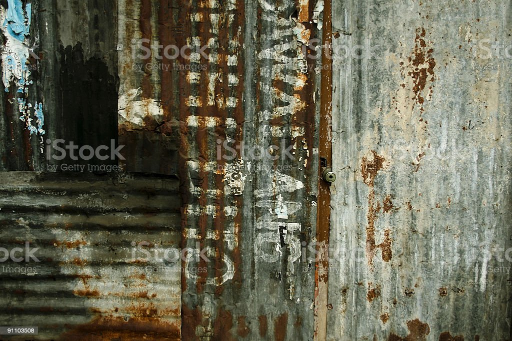 squatter town corrugated metal background royalty-free stock photo