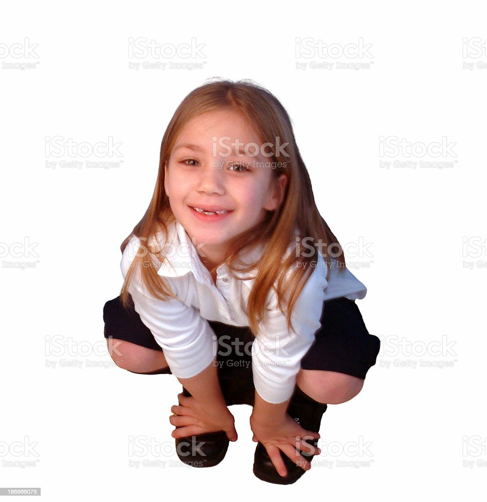 Squatting girl royalty-free stock photo