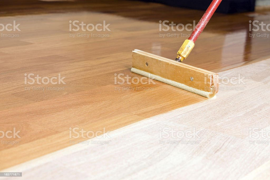 Squeegee Style Brush Applying Clear Polyurethane to Hardwood Floor royalty-free stock photo