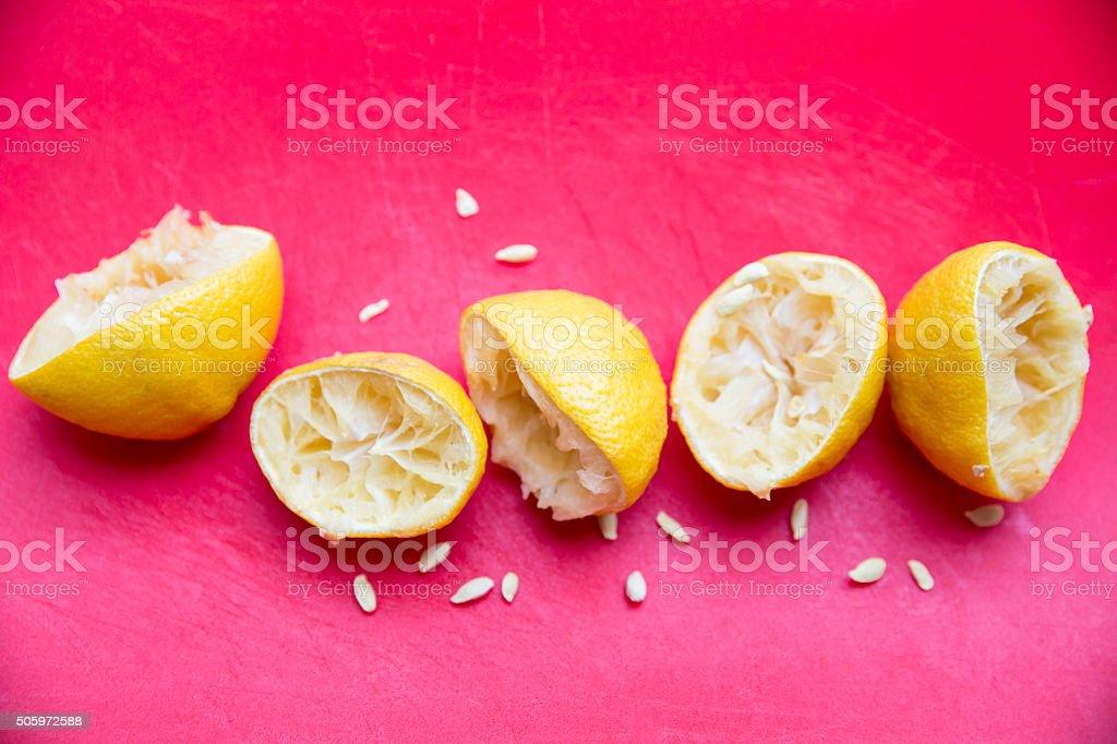 Squeezed Lemons stock photo