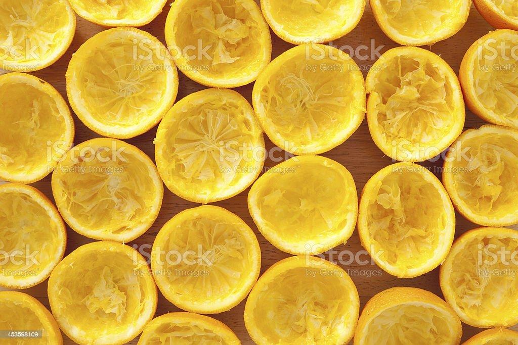 Squeezed orange peels royalty-free stock photo