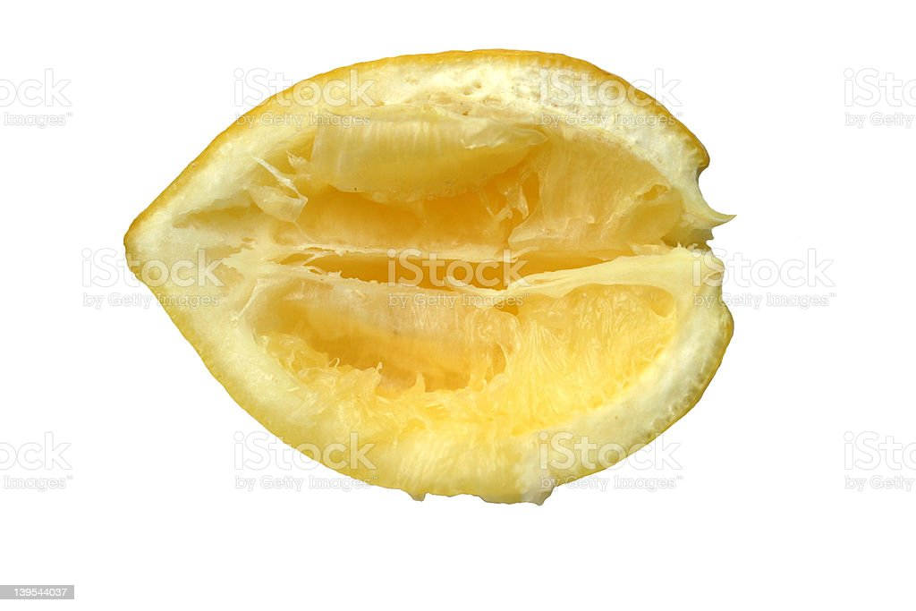 squeezed out lemon stock photo