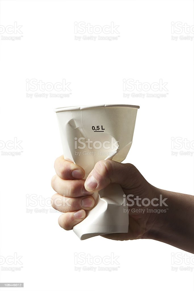 squeezing cardboard cup royalty-free stock photo