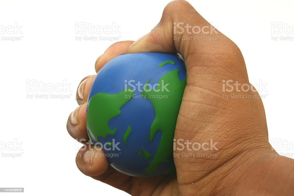 Squeezing the Stress Ball stock photo