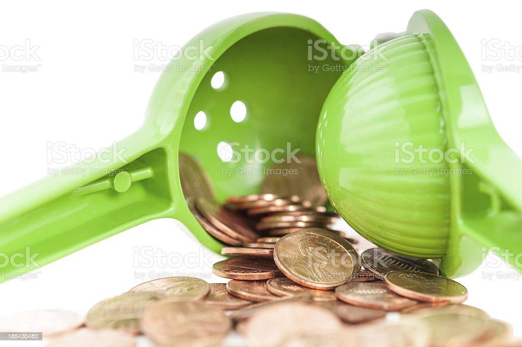Squeezing your money stock photo