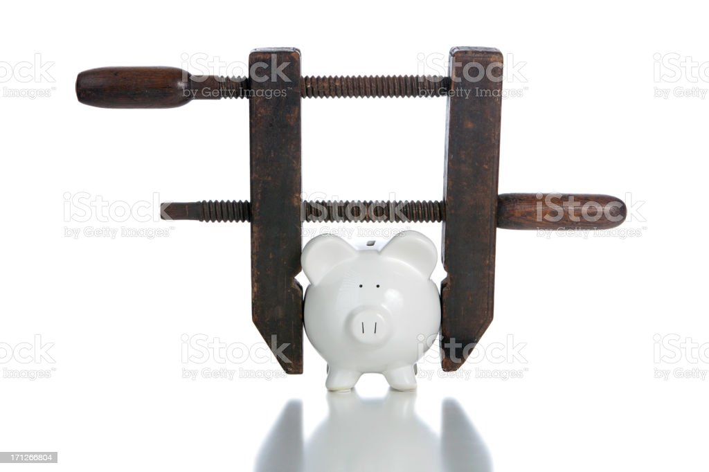 Squeezing Your Savings royalty-free stock photo