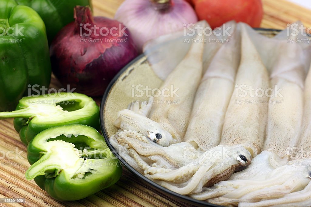 squid and vegetables stock photo