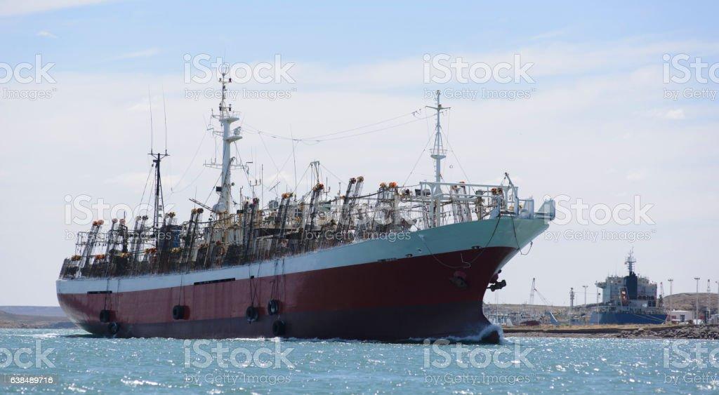 Squid Boat stock photo