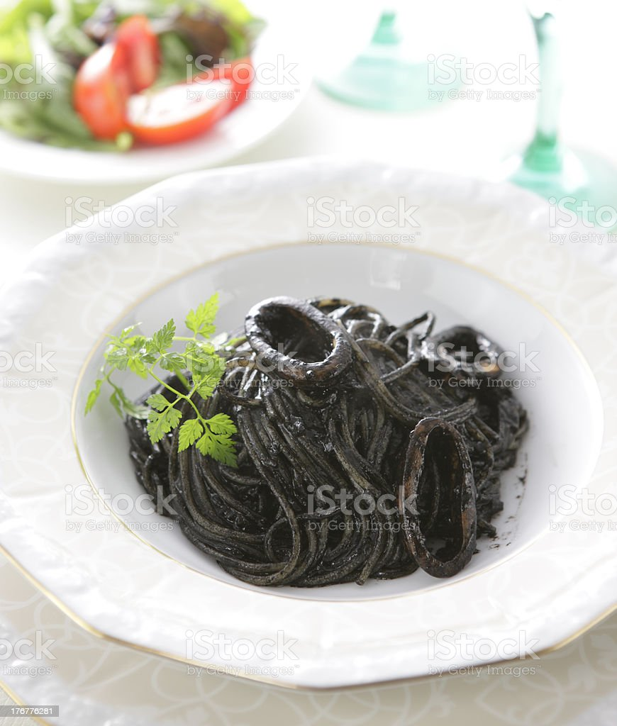 Squid Ink Spaghetti royalty-free stock photo