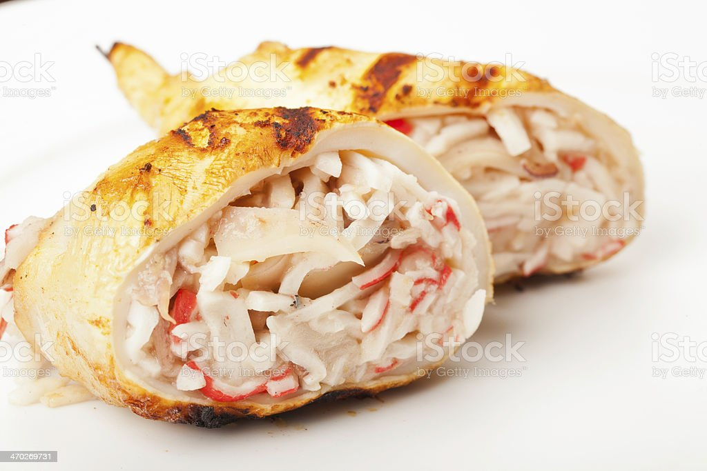 Squid stuffed with seafood royalty-free stock photo