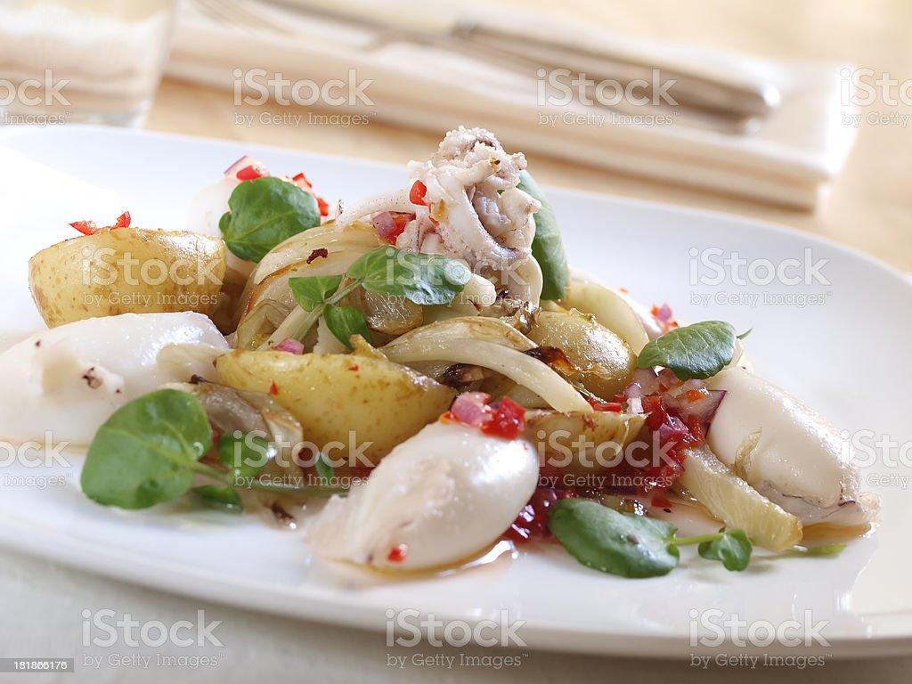 Squid,fennel&potato salad royalty-free stock photo