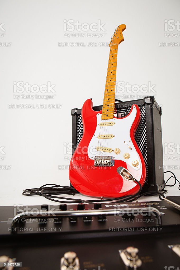 Squier Classic Vibe Fender electric guitar with Roland 80GX amplifier stock photo