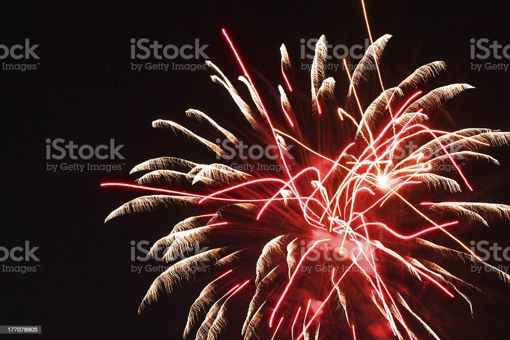 Squiggly and Feathery Fireworks royalty-free stock photo
