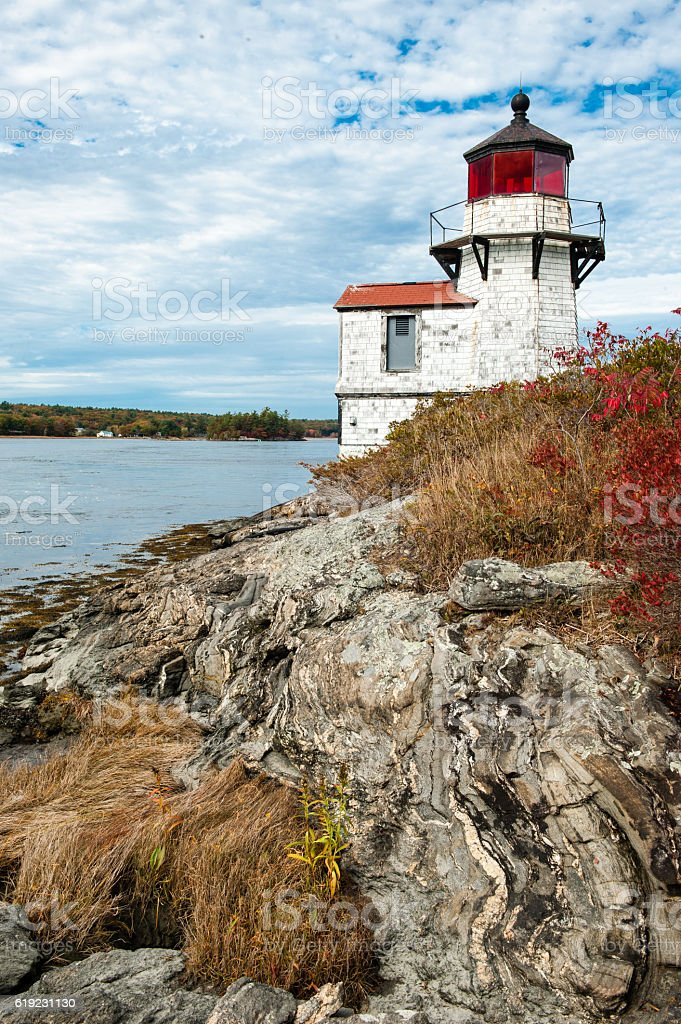 Squirrel Point Lighthouse on the Kennebec River, Arrowsic, Maine stock photo