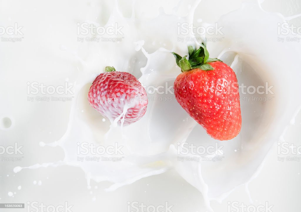 srawberrys falling in milk royalty-free stock photo