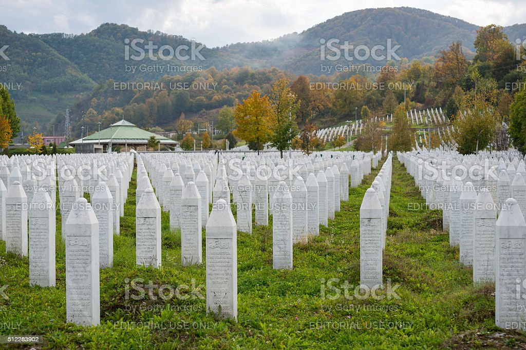Srebrenica massacre and cemetery in Bosnia stock photo