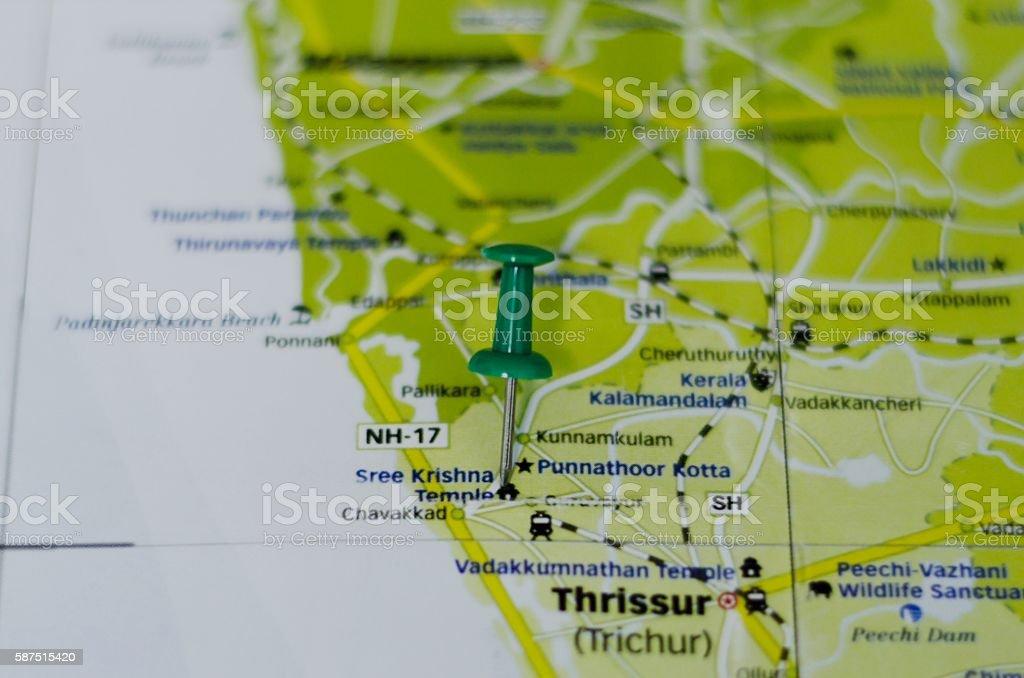 Sree Krishna Temple, Guruvayoor Map stock photo