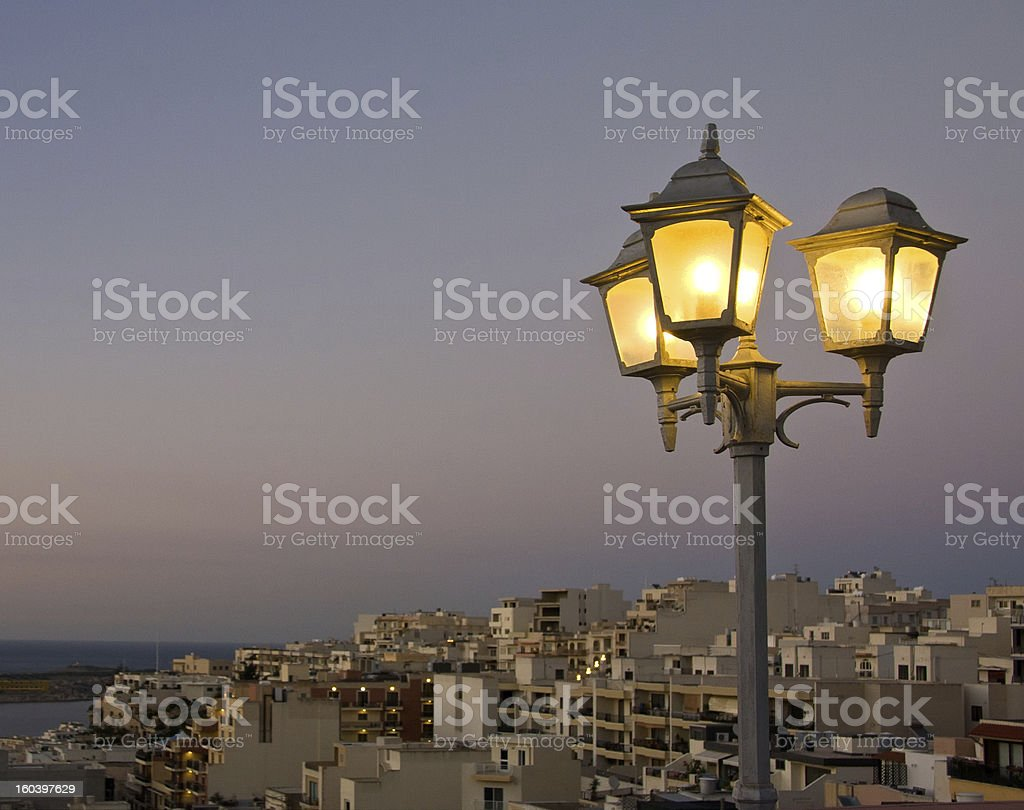 Sreet lantern at sunset royalty-free stock photo