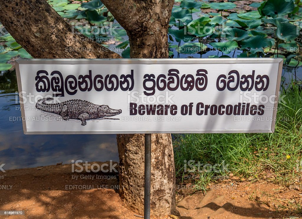 Sri Lanka, Crocodiles warning sign stock photo