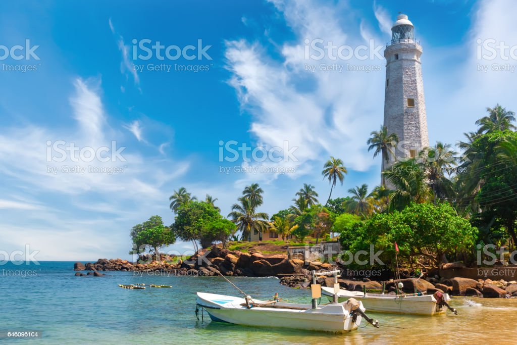 Sri Lanka, Lighthouse Dondra Head. stock photo