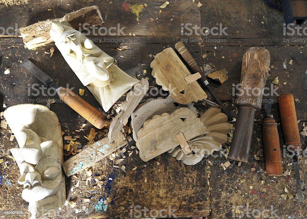 Sri Lanka mask carving stock photo