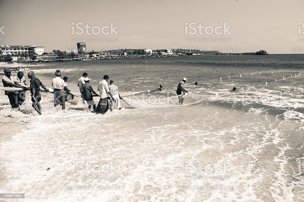 Sri Lanka Net Fishing royalty-free stock photo