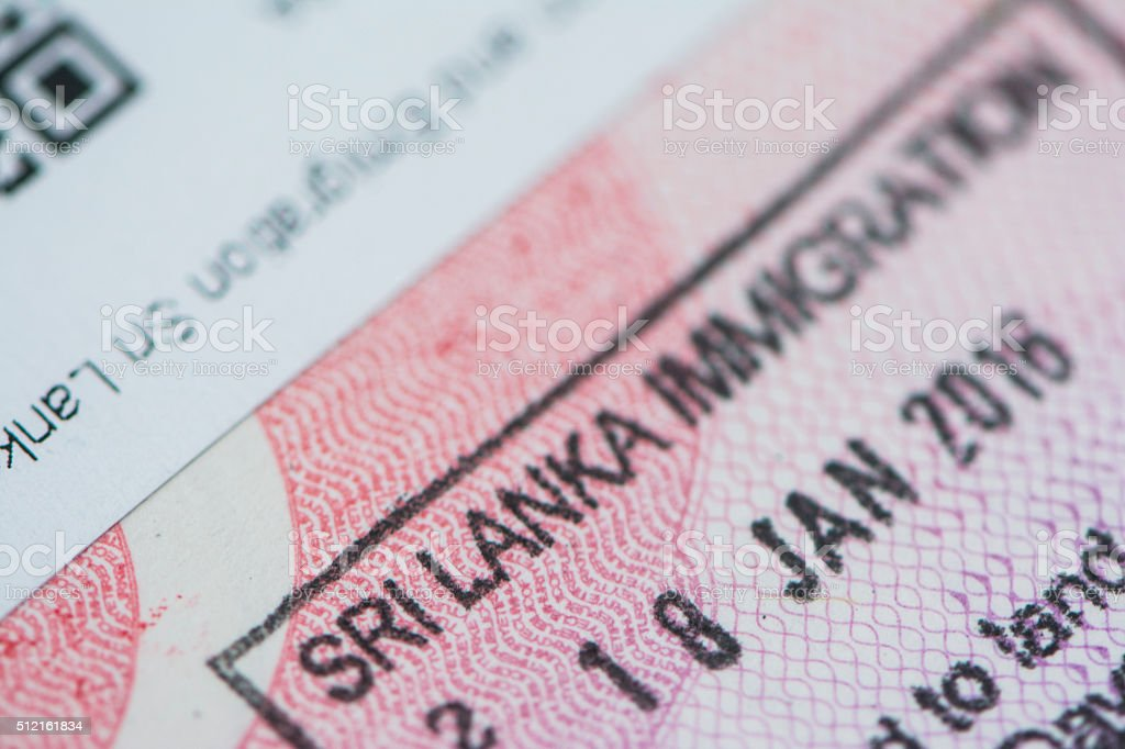Sri Lanka Passport Visa and Stamp stock photo