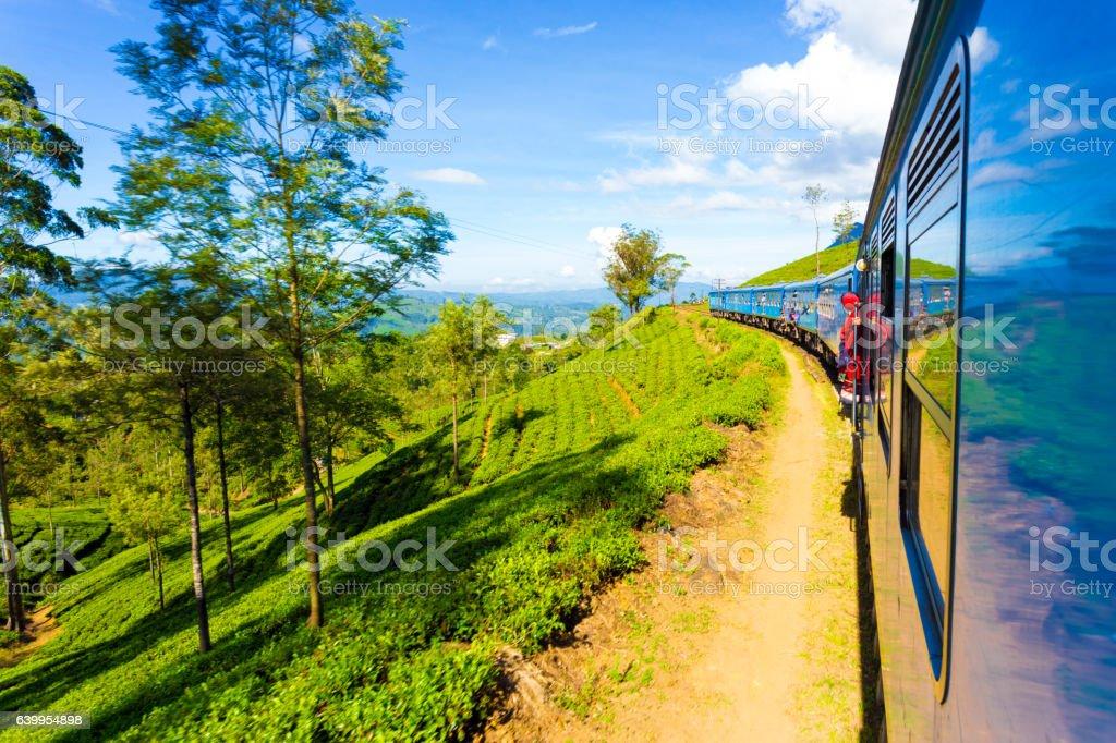 Sri Lanka Tea Plantation Hill Country Train Ride H stock photo