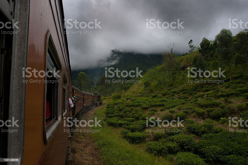 Sri Lanka train trip into misty mountains stock photo