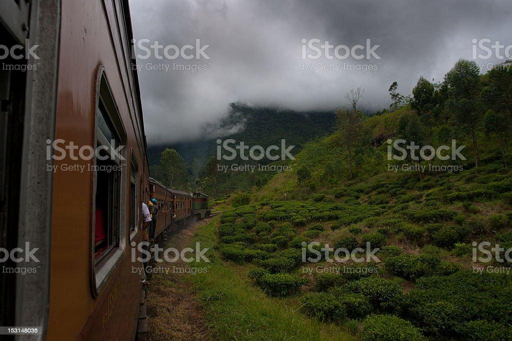 Sri Lanka train trip into misty mountains stock photo