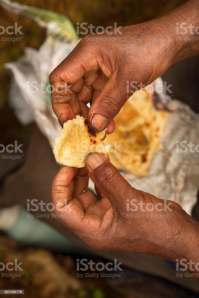 Sri Lankan Coconut Roti stock photo