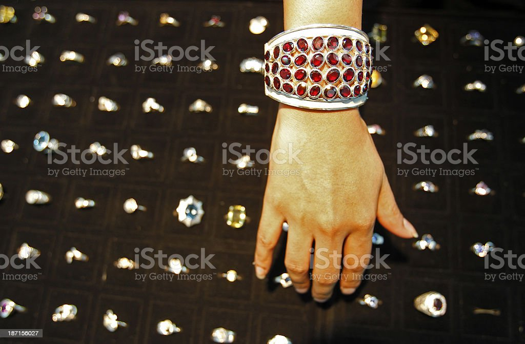 Sri Lankan gems on a bracelet royalty-free stock photo