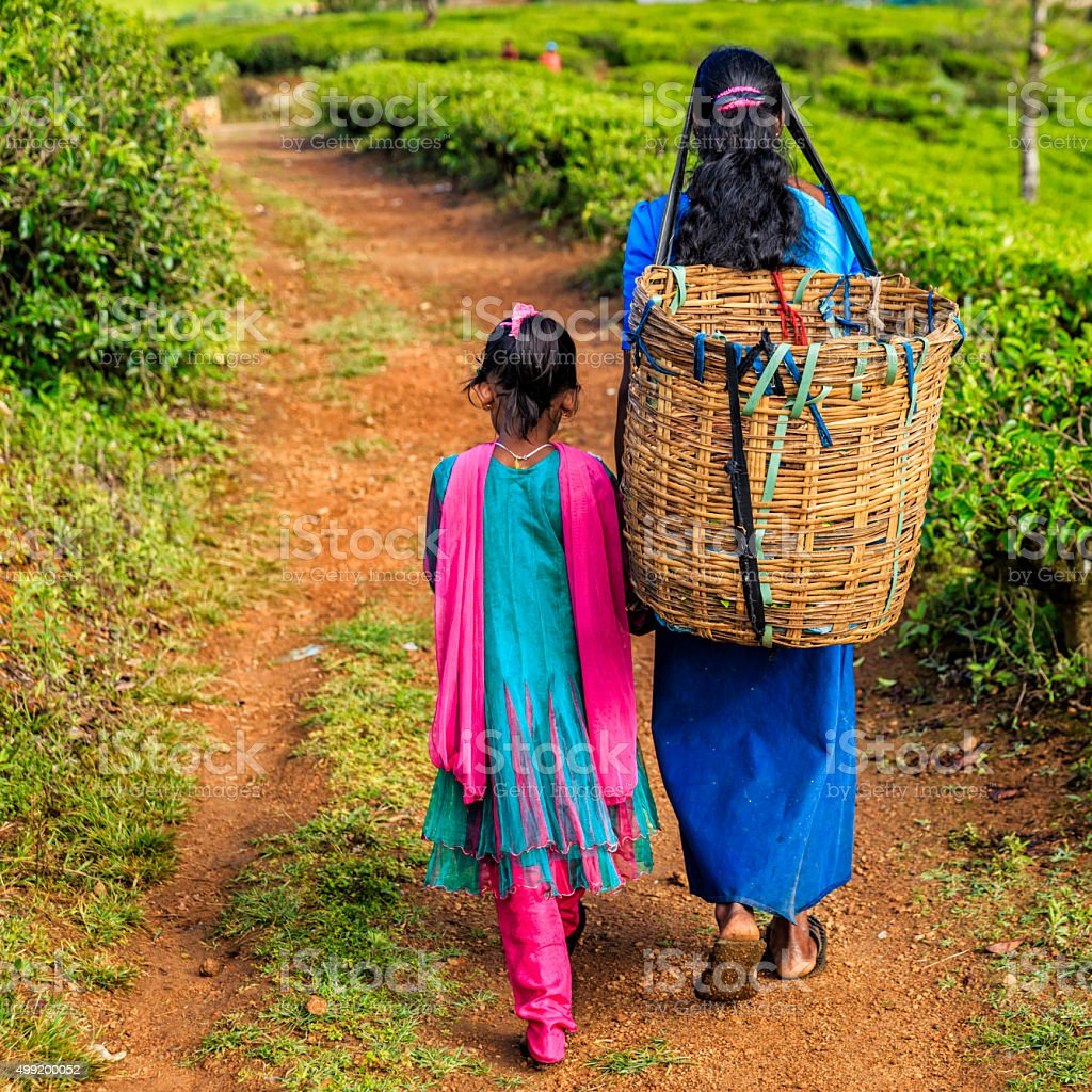Sri Lankan little girl with her mother, Nuwara Eliya, Ceylon stock photo