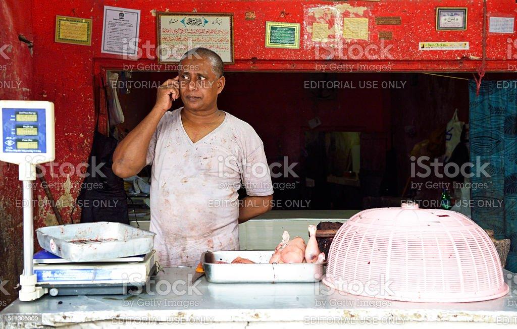 Sri Lankan Muslim butcher stock photo