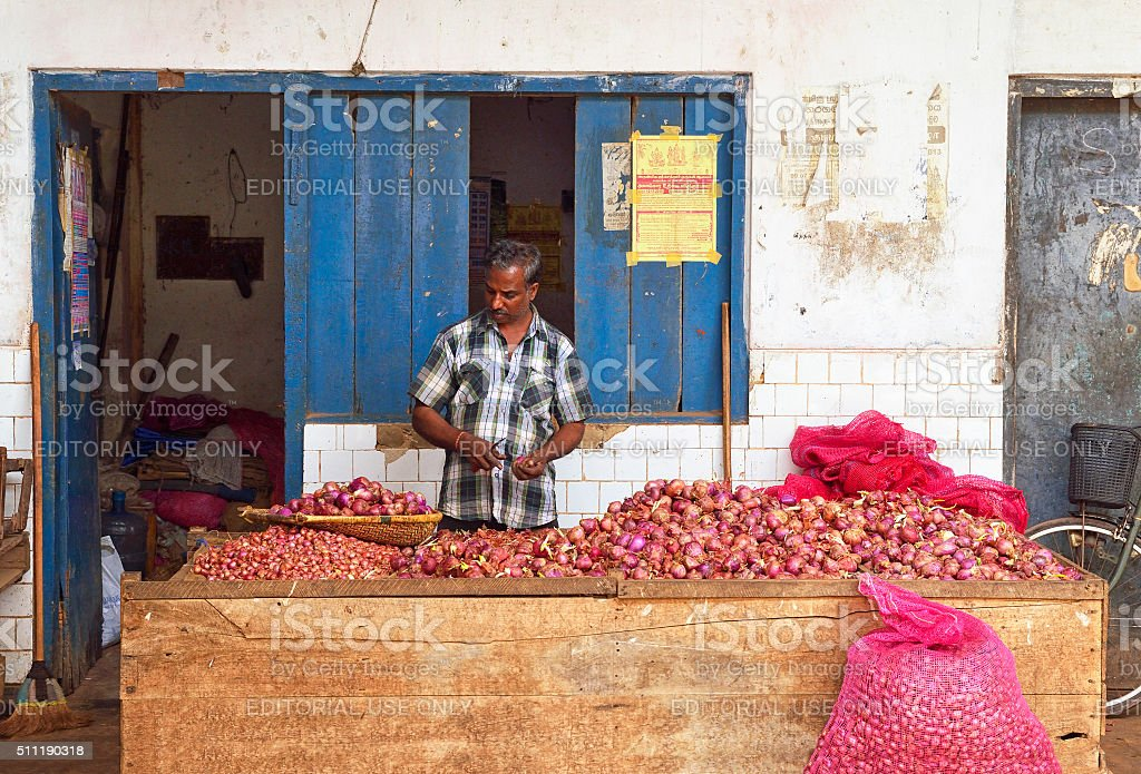 Sri Lankan Onion Vendor stock photo