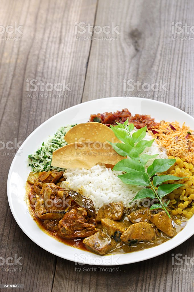 sri lankan rice and curry dish stock photo