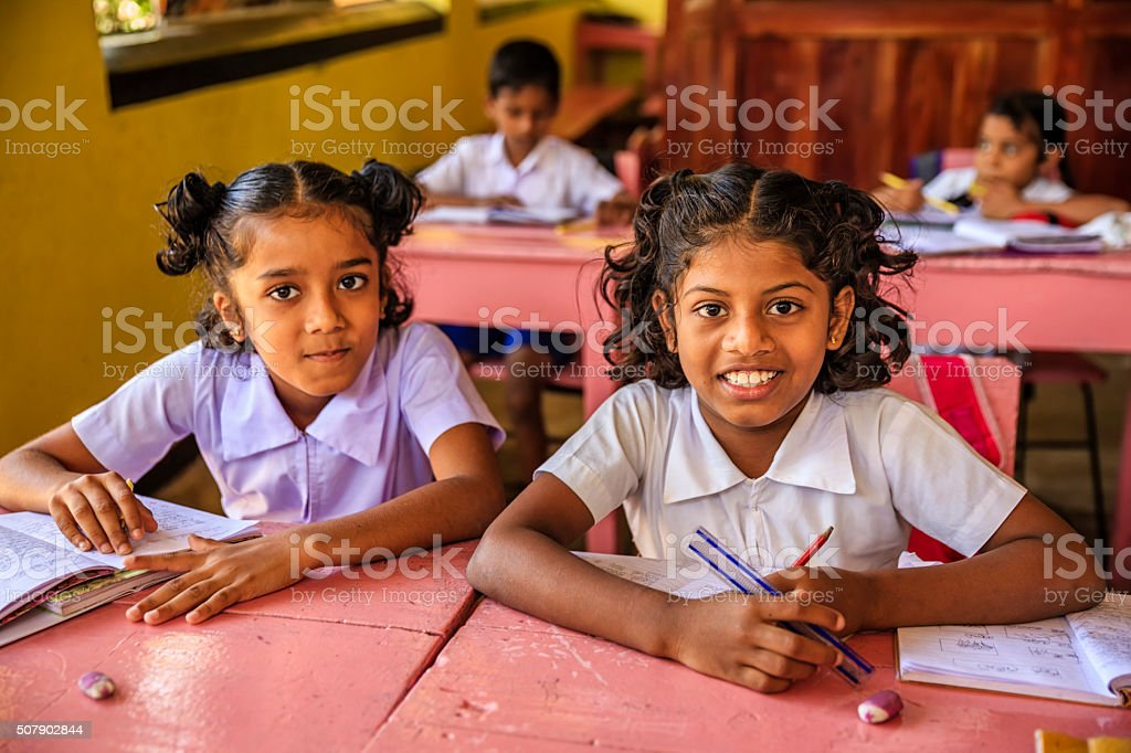 Sri Lankan school children in classroom stock photo