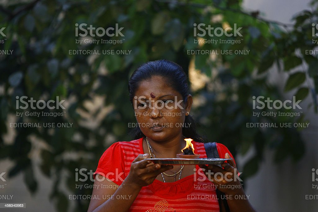 Sri Lankan woman offers prayer stock photo