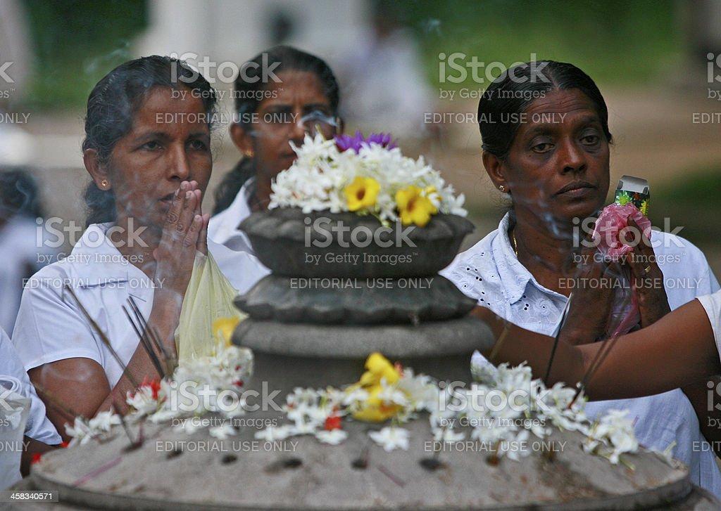 Sri Lankan woman offers prayer stock photo