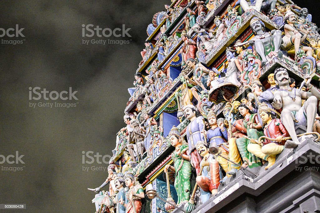 Sri Mariamman Temple in Singapore at Night stock photo