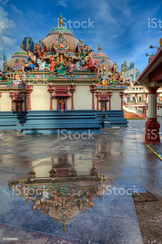 Sri Mariamman temple with reflection stock photo