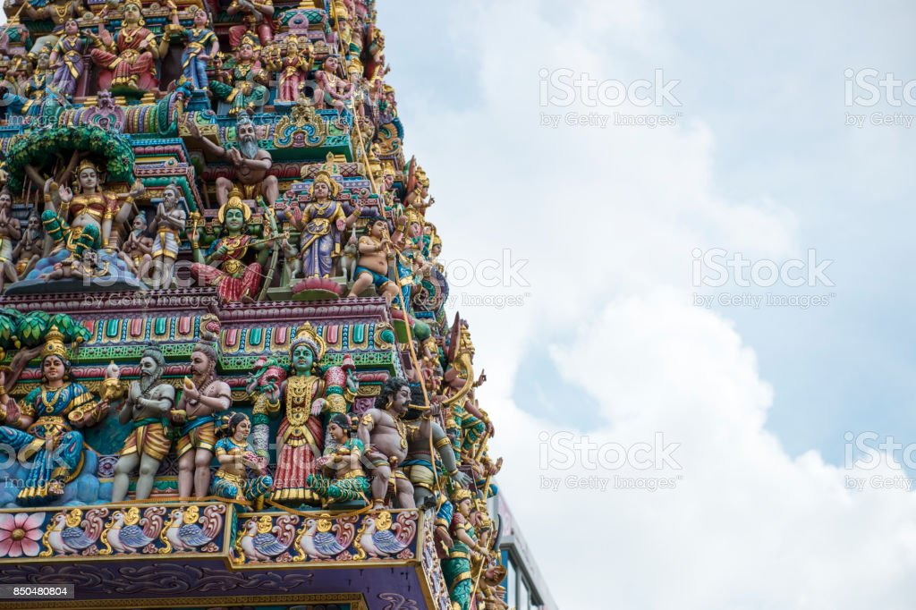 Sri Veeramakaliamman Temple in Little India, Singapore. Intricate Hindu art and deity carvings on the facade. stock photo