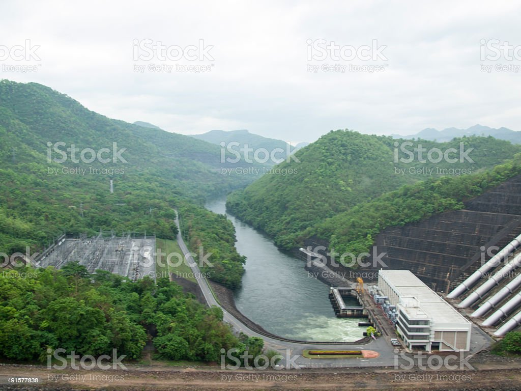 Srinakarind Dam, Kanchanaburi, Thailand. Khuean Srinagarindra National Park. stock photo