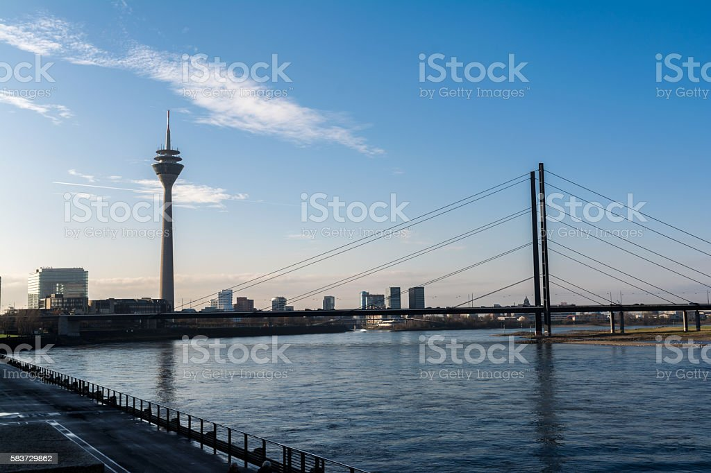 Düsseldorf Beautiful Cityscape Landscape TV Tower Bridge Rhein Daytime stock photo