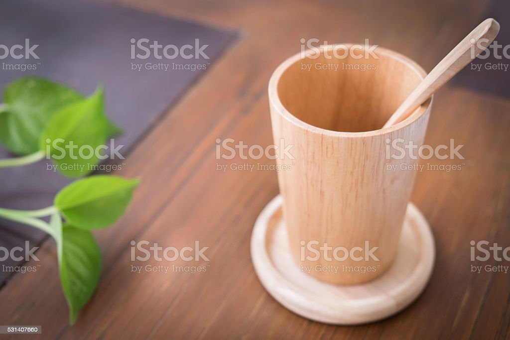 sSet of Wooden Cup stock photo