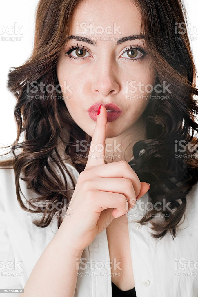 Sssh, quiet stock photo