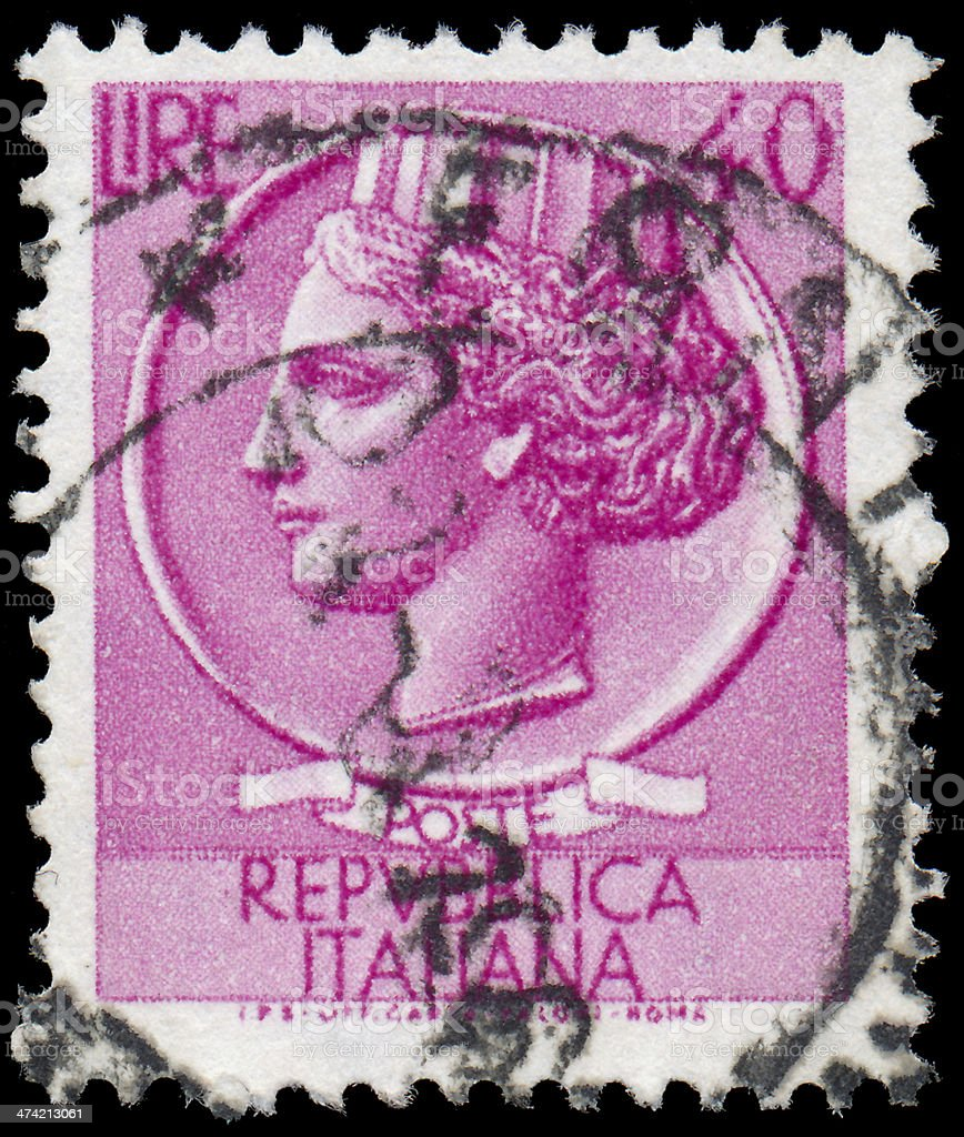 Sstamp printed in Italy shows Italia Turrita stock photo
